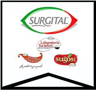 loghi Surgital, laboratorio tortellini, divine creazioni e sugosi